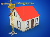 3d generic house. 3d illustration of generic house over blue background with crane Stock Photos