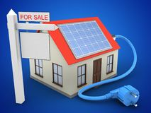 3d solar power. 3d illustration of generic house over blue background with solar power and sale sign Stock Images