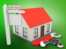 3d generic house. 3d illustration of generic house over green background with wrench and sale sign Royalty Free Stock Photos
