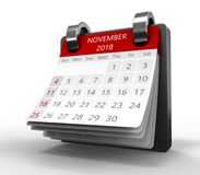 Monthly calendar 3d. 3d illustration of generic monthly calendar on white, november 2018 page Stock Image