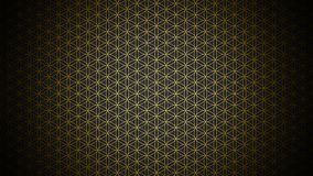 3D Illustration - genesis pattern - the flower of life gold black stock image