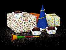 3d Illustration gift boxes with confetti, on black background.  Royalty Free Stock Image