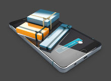 3d Illustration of gift colored boxes with ribbon bows on phone screen.  Royalty Free Stock Photo