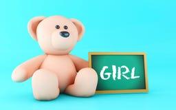 3d Girl written on blackboard. 3d illustration. Girl message written on blackboard with pink teddy bear Stock Photos
