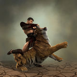 3D Illustration of a Gladiator fighting with a tiger Stock Photos