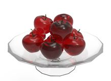 3d illustration of glass apples. Icon for game web. white background isolated Stock Photos