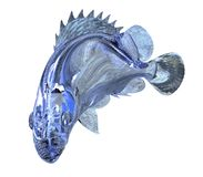 3d Illustration glass fish isolated on white background. 3d Illustration blue glass fish isolated on white background Stock Photo