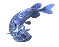 3d Illustration glass fish isolated on white background. 3d Illustration blue glass fish isolated on white background Royalty Free Stock Photos
