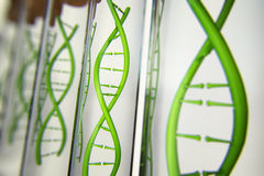 3d illustration of glass model of DNA molecule. Closeup of concept human genome stock illustration