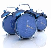 3d illustration of glossy alarm clocks. Against white background Royalty Free Stock Photos