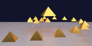 3d illustration of glossy golden pyramids. A white surface and a dark blue background vector illustration