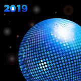 3D Illustration of Glowing Black Background with Decorative 2019 New Years and Blue Disco Ball. 3D Illustration of Glowing Black Background with Lights and stock illustration