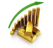 3d illustration of a gold bars and golden coins with arrow. Business and finance concept Stock Photo