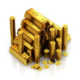 3d illustration of a gold bars and golden coins. 3d illustration of a gold bars and golden coins on a white back Stock Photography
