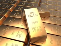 Univer of rows of gold bars Stock Photo