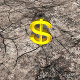 3d Illustration of Gold Dollar on Cracked Rock Royalty Free Stock Photo