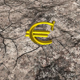 3d Illustration of Gold Euro on Cracked Rock Royalty Free Stock Photo
