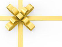 3D illustration gold gift bow Royalty Free Stock Image