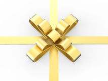 3D illustration gold gift bow Royalty Free Stock Images