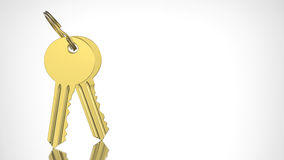 3D illustration gold and key with keychain Royalty Free Stock Photography