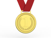 3D illustration gold medal with red ribbon. On a white background Royalty Free Stock Images
