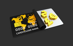 3d Illustration of gold of money symbol, Bank card isolated black Stock Photography