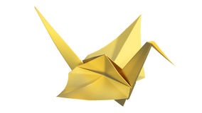 3D illustration gold origami bird. On a white background Stock Photography