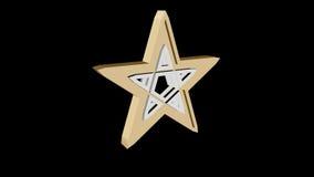 3D illustration gold pentagram. 3D rendering on a black background Stock Image