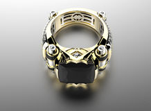 3D illustration of gold Ring with Diamond. Jewelry background Royalty Free Stock Images