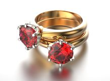 3D illustration gold ring with garnet gemstone. Jewelry backgrou. Nd. Fashion accessory Stock Image