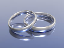 3D illustration gold silver wedding rings Stock Images