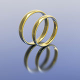 3D illustration gold silver wedding rings Royalty Free Stock Photography