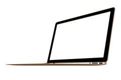 3D illustration Gold Slim Laptop  on white Stock Photography