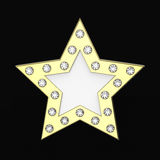 3D illustration gold star with diamonds. On a black background Royalty Free Stock Photo