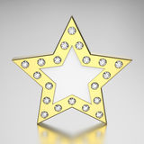 3D illustration gold star with diamonds. On a grey background Royalty Free Stock Photography