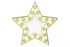 3D illustration gold star with diamonds Royalty Free Stock Photos