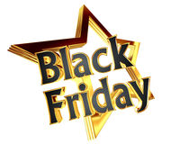 3d illustration. Gold star with text Black Friday on a white background. Closeup Stock Image