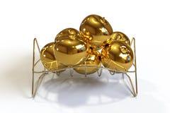 Golden apples on a chrome basket white background. 3D illustration of Golden apples on a chrome basket white background vector illustration