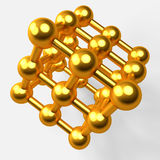 3d illustration of golden atom model Royalty Free Stock Images