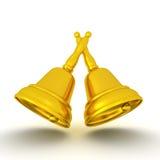 3D illustration of golden bells Stock Images