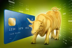 Golden bull with smart card. 3d illustration of Golden bull with smart card Royalty Free Stock Photo