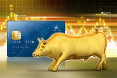 Golden bull with smart card. 3d illustration of Golden bull with smart card Stock Photo