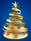 3d golden Christmas tree. 3d illustration of golden Christmas tree over blue background with red balls Stock Image