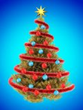 3d tinsel. 3d illustration of golden Christmas tree over blue with blue balls Royalty Free Stock Photos