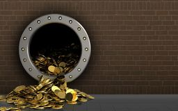 3d golden coins over bricks Stock Photo