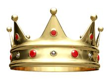 3D illustration, golden crown isolated on white. vector illustration