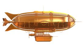 Golden Fantasy Airship Zeppelin Dirigible Balloon 3D illustration isolated on white. 3D illustration Golden Fantasy airship Zeppelin Dirigible balloon isolated Royalty Free Stock Image