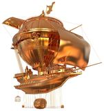 Golden Fantasy Airship Zeppelin Dirigible Balloon 3D illustration isolated on white. 3D illustration Golden Fantasy airship Zeppelin Dirigible balloon isolated Stock Images
