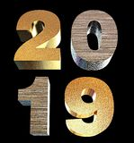 2019 3D illustration golden numbers isolated on transparent background d isometric new year sign for greeting, vector illustration