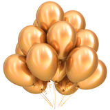 3D illustration of golden party helium balloons birthday decoration. 3D illustration of golden party helium balloons birthday carnival happy holidays celebrate Royalty Free Stock Photo